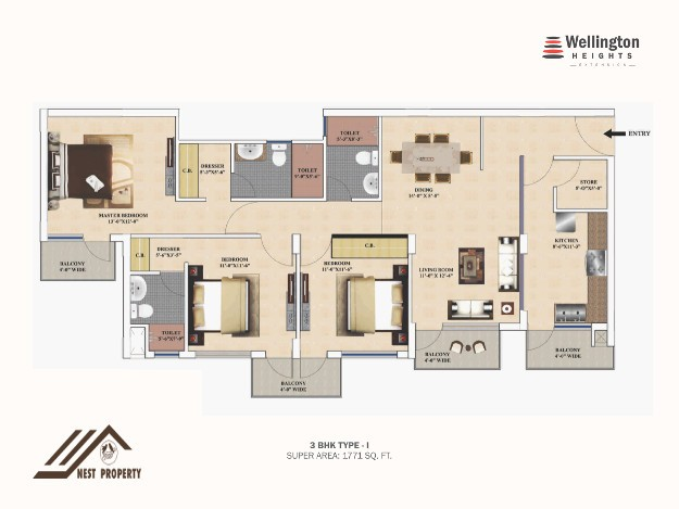 4 BHK Luxury Flats In Wellington Heights Extension